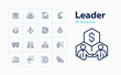 Leader line icon set. Meeting, partnership, deal. Business concept. Can be used for topics like startup, leadership, career promotion