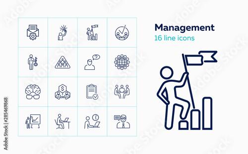Pinturas sobre lienzo  Management line icon set