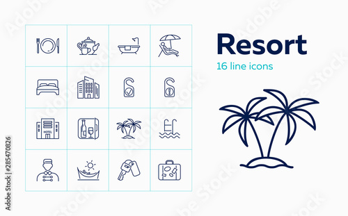 Fotografia Resort line icon set