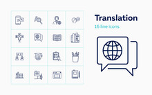 Translation Icons. Set Of Line Icons. Dictionary, Online Translator, Language. Linguistics Concept. Vector Illustration Can Be Used For Topics Like Education, Communication, Applications