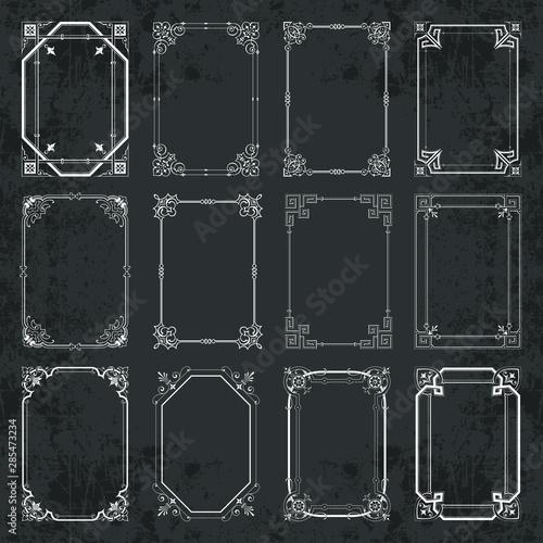 Fototapeta Calligraphic decorative frames in vintage style on chalkboard background - vecto