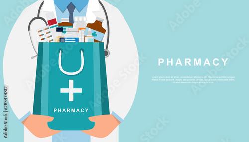 Carta da parati  pharmacy background with doctor holding a medicine bag
