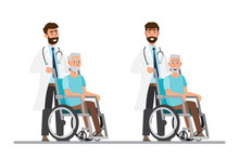 Old Man Sit On A Wheelchair With Doctor Take Care