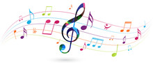 Colorful Music Notes Backgroun...