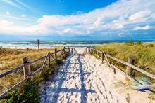 Entrance To Beautiful Sandy Beach In Lubiatowo Village, Baltic Sea
