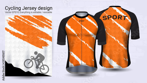 Fotomural Cycling Jerseys, Short sleeve sport mockup template, Graphic design for bicycle apparel or Clothing outerwear and raingear uniforms, Easily to change logo, name, color and lettering in your styles