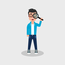 Young Man With A Smile Looking Through Magnifying Glass. Happy Man Looking For Something With A Lupe. Search, Investigate, Curiosity, Find, Concept. Stock Vector Illustration Flat Style