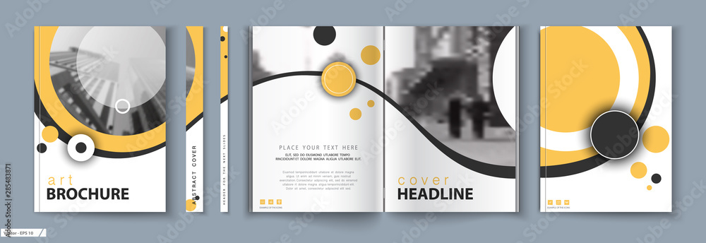 Fototapety, obrazy: Cover design. Business Template Brochure. City office photo, city. Yellow and black design, catalog, layout. White Techno. book, booklet, album, poster. Annual report, title. Ad text, font, a4 format