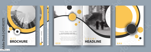 Obraz Cover design. Business Template Brochure. City office photo, city. Yellow and black design, catalog, layout. White Techno. book, booklet, album, poster. Annual report, title. Ad text, font, a4 format - fototapety do salonu