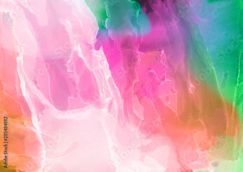 Photo sur Toile ZigZag Colorful hand painted alcohol ink background. Abstract delicate texture. Contemporary wallpaper.