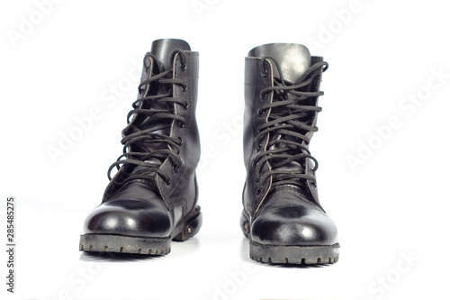 Fotografia Black Leather combat boot or Army Boots on white.