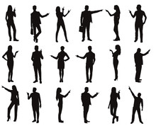 People Pointing Silhouette