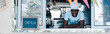 canvas print picture - panoramic shot of happy african american man in chef uniform smiling from food truck