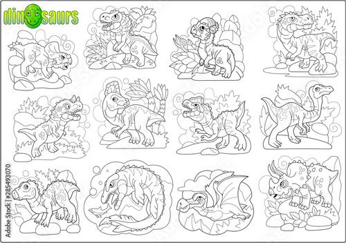 Photo cartoon cute prehistoric dinosaurs, coloring book, image set