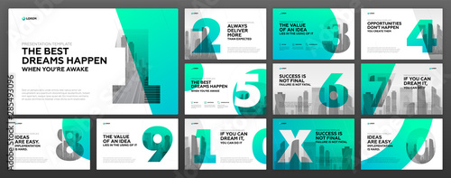 Fototapeta Powerpoint presentation templates set for Business. Use for modern keynote presentation background, brochure design, website slider, landing page, annual report, company profile. obraz