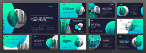 Fotomural Business powerpoint presentation templates set