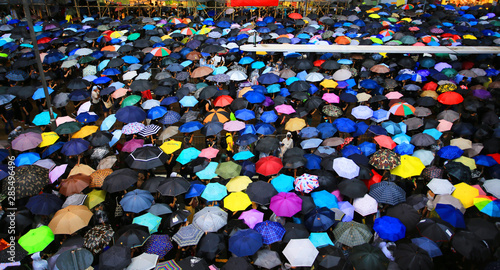 Canvas Print thousands of umbrella in causeway bay hong kong in rainy day on august 18 2019