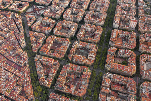 Barcelona City Spain Apartment and City Blocks at Sunset Aerial View Wallpaper Mural