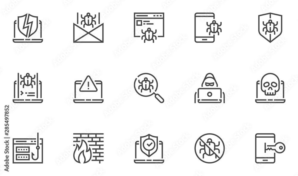 Fototapeta Hacking vector line icons set. Cyber virus, digital protection, hacker attack, internet security. Editable stroke. 48x48 Pixel Perfect.