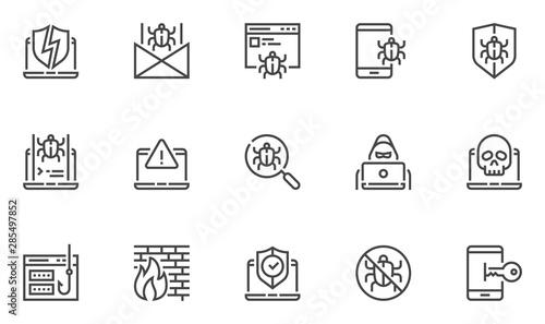 Fotografía Hacking vector line icons set