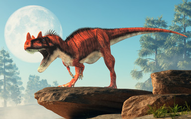 Ceratosaurus was a carnivorous theropod dinosaur of the Jurassic era most notable for the horns on its snout over its eyes. On a cliff by the moon. 3D Rendering.