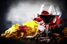 Dry Red Wine In Wine Glass, Fa...