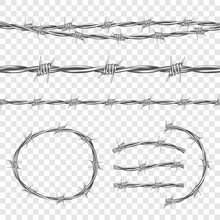 Metal Steel Barbed Wire With Thorns Or Spikes Realistic Seamless Vector Illustration Isolated On Transparent Background. Fencing Or Barrier Element For Danger Industrial Facilities Or Prisons