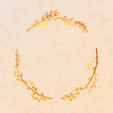 Golden Detailed Floral Wreath On Beige Paper