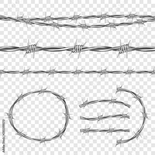 Fotografía  Metal steel barbed wire with thorns or spikes realistic seamless vector illustration isolated on transparent background