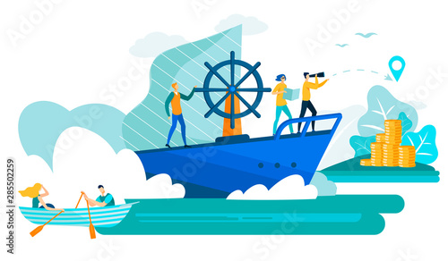 Business People in Boat and Ship Flat Vector.
