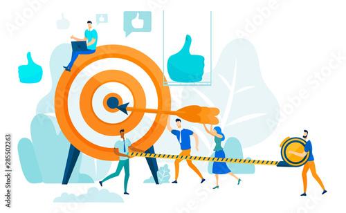 Hitting Target, Leadership and Teamwork Concept. Canvas Print