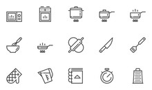 Cooking Vector Line Icons. Kitchen Utensils, Chef Knife, Cooking Book, Roasting, Fry. Editable Stroke. 48x48 Pixel Perfect.