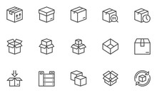 Boxes Vector Line Icons Set. O...