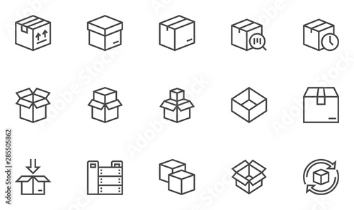 Fotografía Boxes vector line icons set