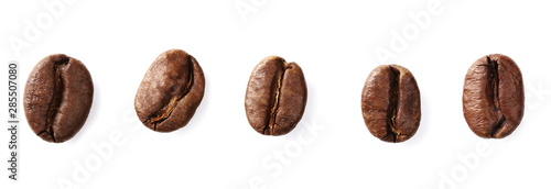 Obraz Coffee beans set isolated on white background and texture, top view - fototapety do salonu