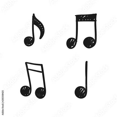 Music note doodles. Set of musical melody symbols. Hand drawn illustrations, - 285508425