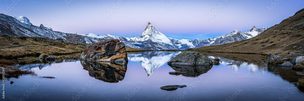 Fototapeta Matterhorn mountain and Stellisee panorama in winter, Switzerland