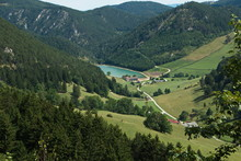 View Of Marias Landsee From The Cogwheel Railway On The Schneeberg In Lower Austria, Europe