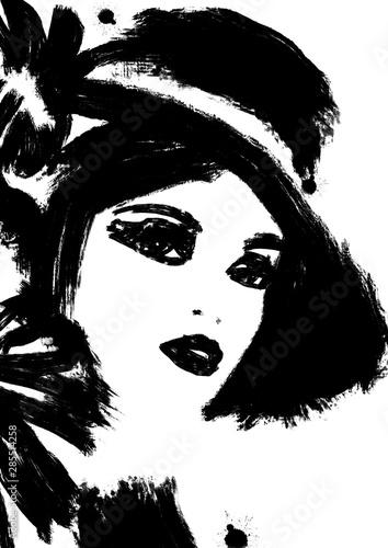 czarno-bialy-obraz-przedstawiajacy-duze-pociagniecia-pedzlem-twarzy-kobiety-zblizenie-streszczenie-ilustracji-mody