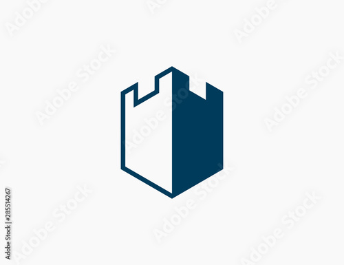 Castle Logo Template Icon Vector Illustration Wall mural