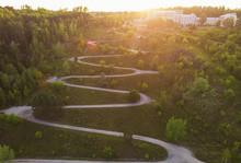 Aerial Top Vew Of Winding Road...