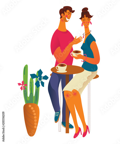 Spoed Fotobehang Kinderkamer Cute romantic couple at cafe or coffee shop drinking coffee and talking. Young man and woman dialog or conversation at cafe on date. Flat cartoon vector illustration isolated on white background.