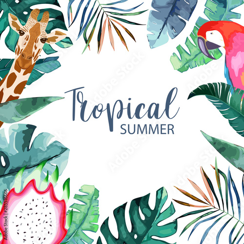 Exotic tropical palm leaves frame. Summer background. Vector illustration. Template for card. Watercolor style © natikka