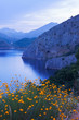 canvas print picture mountain lake in summer twilight