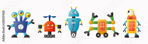 Photo Set of cute vector robot characters for kids