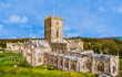 canvas print picture - Panoramic view of St David's Cathedral in St Davids, Pembrokeshire, Wales, UK