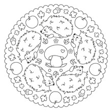 Coloring Page Mandala With Hed...