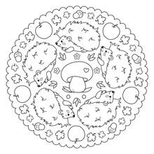 Coloring Page Mandala With Hedgehog, Apple, Mushroom, Leaves And Acorns.  Vector Illustration.