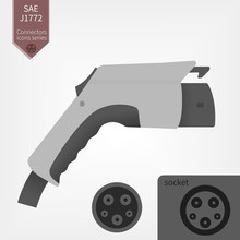 Electric Car Charging Plug Vector Illustration. SAE J1772 Connector Type