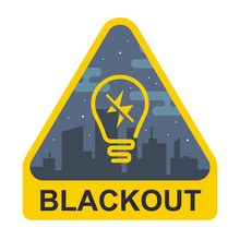 Blackout Sign. Yellow Triangle With A Light Bulb